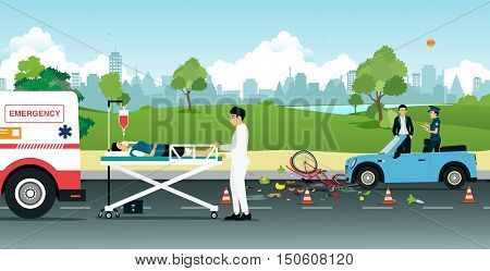 Cyclist accidents on collision with a car on the road to help with emergency aid.