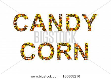 Candy Corn Text Made Of Candy Corns Isolated On White 3D Illustration