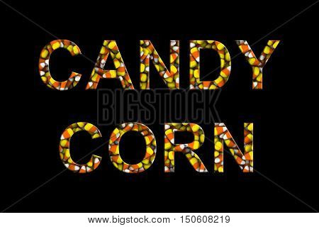 Candy Corn Text Made Of Candy Corns Isolated On Black 3D Illustration