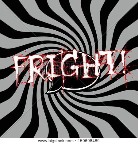 Fright Speech bubbles wording on Striped sun black-gray background