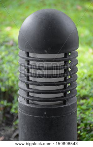 close up light pole in the garden