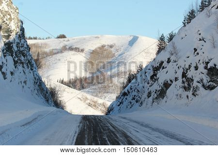 winter, snow, frost, road, landscape, winter road, winter, landscape, road, highway, country road
