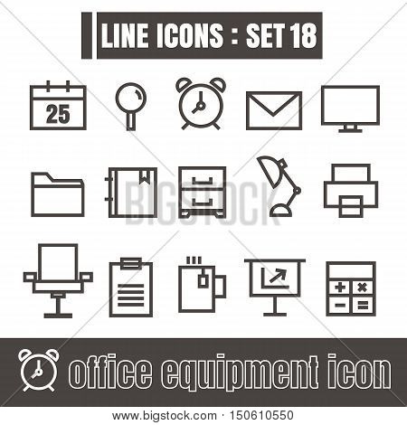 icon office equipment line black Modern Style vector on white background