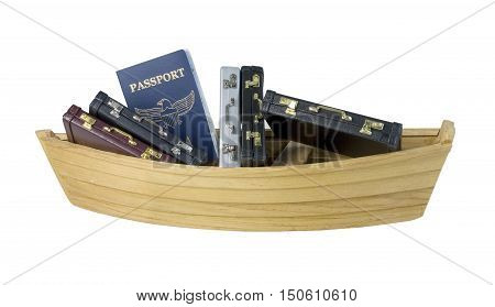 Boat with a Passport and filled with leather briefcases used to carry items to the office - path included