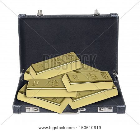 Leather briefcase used to carry items to the office full of gold bars - path included