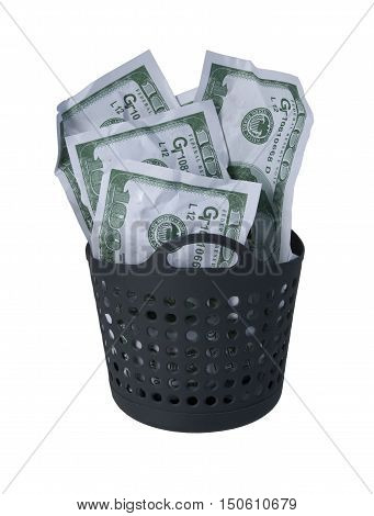 Money in the form of many large bills in a laundry basket to show laundered money - path included