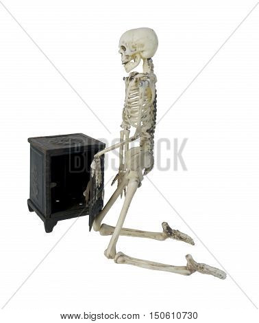 Skeleton closing a safe used to store securities and Money - path included