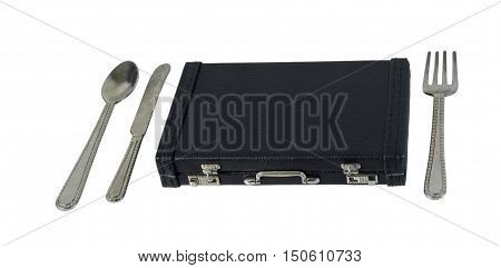 Silverware with a Briefcase to show the business of food - path included