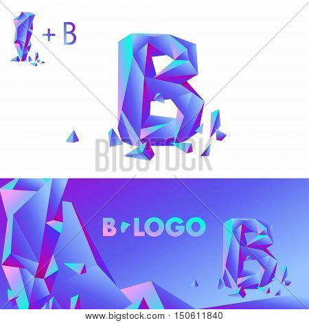 Template B brand name companies. Corporate Identity for the company with the letter B: logo, background. Creative logo, bulk ice DIAMOND GLASS letter B