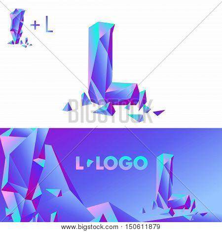Template L brand name companies. Corporate Identity for the company with the letter L: logo, background. Creative logo, bulk ice DIAMOND GLASS letter L