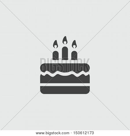 Birthday cake vector sign flat illustration icon.