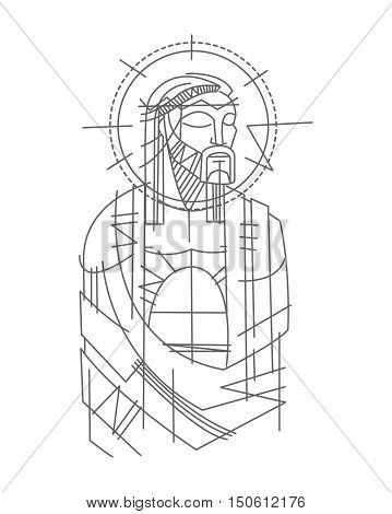 Hand drawn vector illustration or drawing of Jesus Christ priosioner
