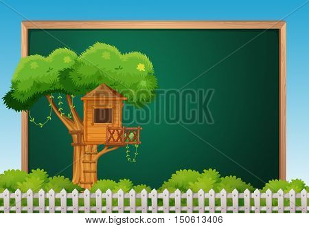 Board template with treehouse illustration