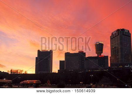 Niagara Falls Ontario - January 3 2007: Niagara Falls Canada skyscrapers at sunset.