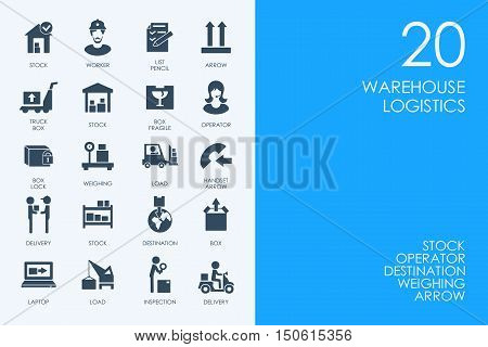 BLUE HAMSTER Library warehouse logistics vector set of modern simple icons