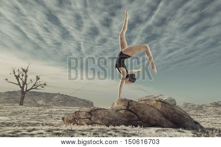 Gymnast practicing outdoor on a big rock. This is a 3d render illustration