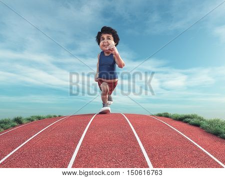 Plump man jogging on running track. This is a 3d render illustration