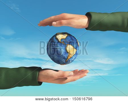 Hands protecting the earth. This is a 3d render illustration