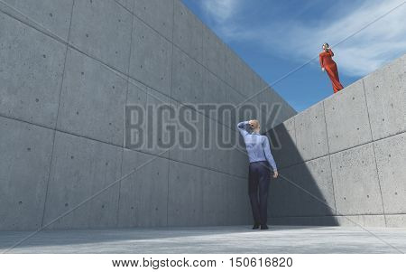 Young man looking to a girl posing up to the wall girl wearing red dress. This is a 3d render illustration