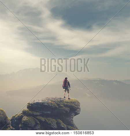 Hiker with backpack standing on top of a mountain. This is a 3d render illustration