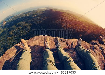 hiking legs enjoy the view on mountain peak