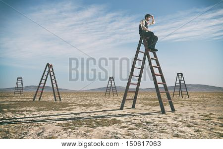 Businessman climbed on top of the stairs looking up to horizon surrounded by other stairs. Success business and ambitions concept. This is a 3d render illustration