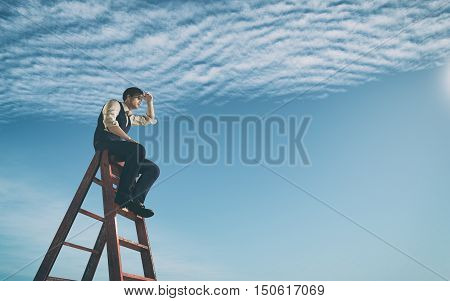 Businessman climbed on top of the stairs looking up to horizon. Success business and ambitions concept. This is a 3d render illustration poster