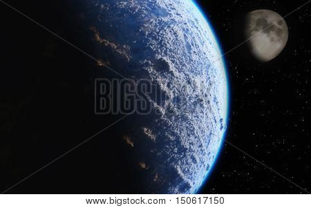 View of earth and moon from space. This is a 3d illustration.