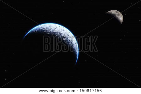 View of earth and moon from space. Distance between earth and moon. This is a 3d illustration.
