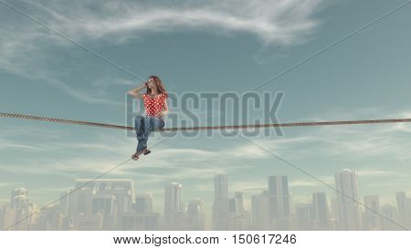 Composite image of woman sitting on a rope against large city. This is a 3d render illustration