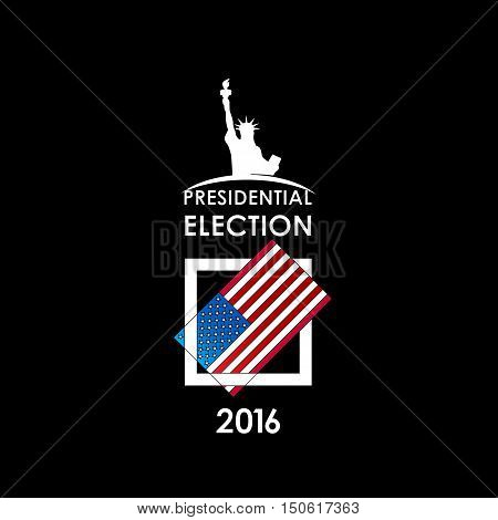 The presidential election voting card on a black background. Vector illustration