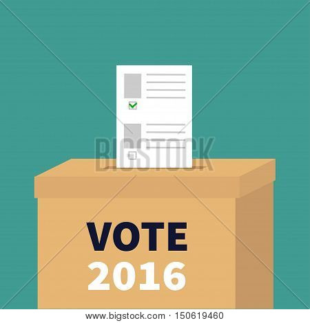 Ballot Voting box Paper blank bulletin with green mark concept. Polling station. President election day Vote 2016 white black text. Flat design Card. Vector illustration
