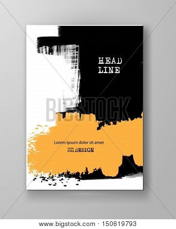 Two color abstract design. Ink paint on brochure Color element isolated on white. Grunge banner paints. Simple composition. Liquid ink. Background for banner card poster identity web design.
