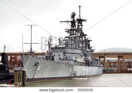 photo of battleship at a naval