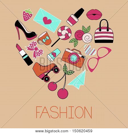 Vector illustration of heart shape fashion items