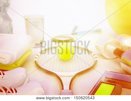Sport concept with water towels sneakers tennis racket tennis ball weights fitness ball jump rope and dumbbells. 3D illustration