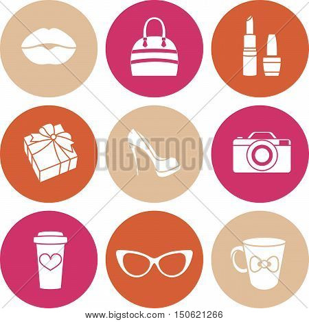 Vector icons stickers and labels glamor womens circle set
