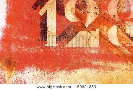 Old Rusty Painted Metal Wall With Numbers