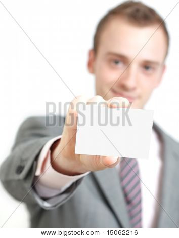 A business man offering you his business card