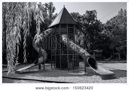 Modern playground in oldschool style,black and white