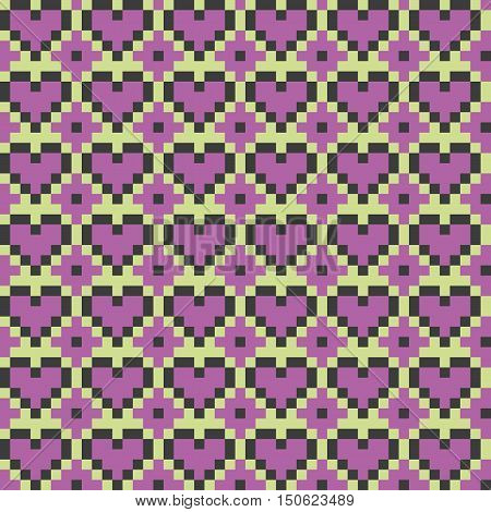 Light violet heart seamless stitching pattern on a light green background. Pixel art seamless pattern in desaturated colors. Vector illustration