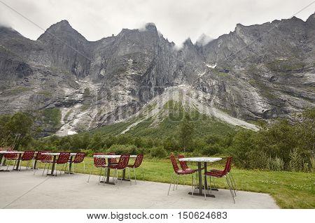 Norway rest area. Troll wall massif mountain. Trollveggen. Romsdalen valley. Cloudy