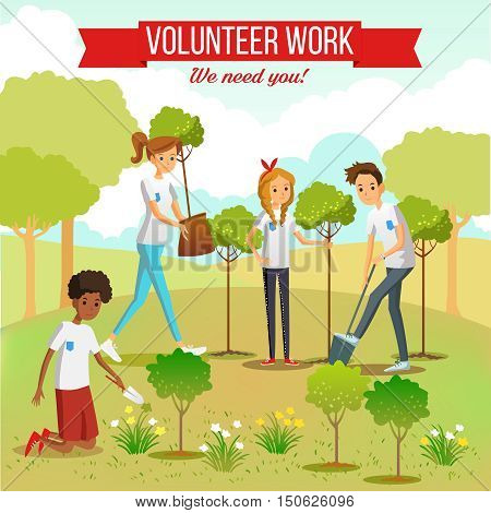 Gardening and planting seedlings  in the park by volunteer boys and girls group flat vector illustration