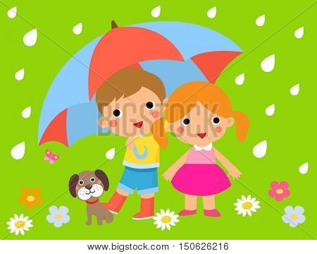 Children and umbrella