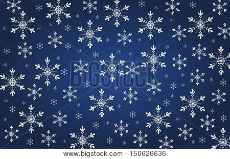 Dark blue background with white snoflakes decoration