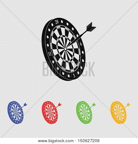 Dart and dartboard vector icon for web and mobile