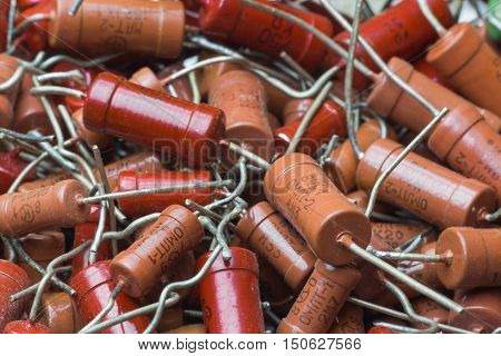Vintage soviet electronic parts high-power red resistors