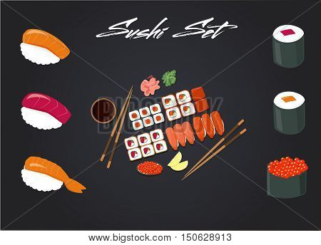 Vector image of Japanese cuisine, rolls, sushi menu for the restaurant, cafe, bistro, takeaway