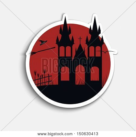 Sticker Template (icons) on Halloween night with red sky and witches castle on the hill. Vector illustration