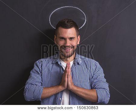 Man Showing Angel